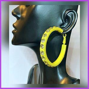 🏷 🆕 Yellow Hoop Earrings + Rhinestones | Rampage